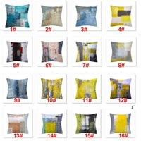 Turquesa y arte gris Ilustraciones de arte contemporáneo Funda de almohada de gris Casa decorativa de tiro almohadas Cubiertas de cojín para sofá dormitorio OWD5815