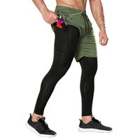 Men's Pants Men 2 In 1 Running Shorts Gym Fitness Training Quick Dry Beach Long Male Summer Sports Workout Bottoms Clothing