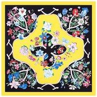 Blankets Spring Series Travel Portable Lady H Silk Scarf Blanket Ribbon Flower Pattern Headdress Shawl Square Sunscreen Throw