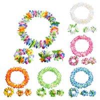 Decorative Flowers & Wreaths Hawaiian Party Decoration Hula Garland Wreath Necklace Headband Wristband Bracelet Girl Dress Birthday Beach De