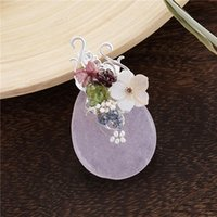 Pins, Brooches TDQUEEN Big Natural Stone Broches Zinc Alloy Silver Plated Pin Jewelry Pearl Shell Flower Bead For Women
