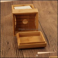 Dishes Aessories Home & Gardennatural Dish Bamboo Tray Holder Storage Soap Rack Plate Box Container For Bath Shower Bathroom Qc Drop Deliver