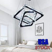 Lampadario di cristallo, design acrilico moderno illuminazione a sospensione a sospensione regolabile in acciaio inox per camera da letto soggiorno cucina