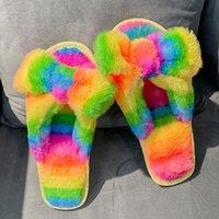 Slippers Winter Rainbow Color Matching Cute Bow Upper Women Fur Indoor 2021 Stripe Plush Flat Keep Warm Female