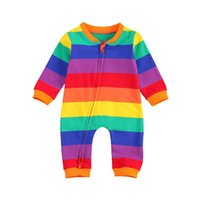0-24M Born Kid Baby Boy Girl Clothes Rainbow Striped Long Sleeve Romper Cute Sweet Jumpsuit Autumn Winter Outfit Jumpsuits
