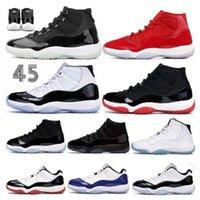 Melhores homens Sneakers 11 11s Mens Sapatos de Basquete Jumpman 25º Aniversário Brot Bed Concord 45 Cap e Vestido 72-10 Branco Metálico Prata Running
