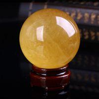 40mm Natural Citrine Calcite Quartz Crystal Sphere Ball Healing Gemston Home Decor