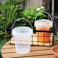 일회용 컵 빨대 10pcs 1L 큰 투명 물 배럴 두꺼운 플라스틱 우유 차 디저트 아이스크림 컵 주스 포장 상자 핸드폰