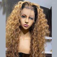 파트 딥 웨이브 말레이시아 전체 레이스 인간의 머리 가발 실크베이스 옴 브레 금발 13x6 투명한 360 정면 가발 baby1