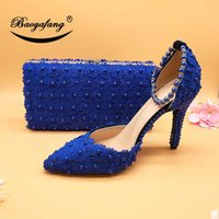 Royal Blue Flower Wedding Shoes with Matching Bags High Heels Pointed Toe Ankle Strap Ladies Party Shoe and Bag Set Pearl Shoe Q0709