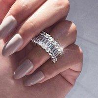 Trendy Luxury Silver Women Wedding Rings Zirconia Dazzling Promise Ring Engage Wedding Party Jewelry