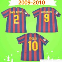 # 10 Messi # 9 Ibrahimovic 2009 2010 Retro Soccer Jersey Pedro Home Classic Vintage Football Hemd Uniform Henry Camiseta de Futbol 09 10 A.Imasta