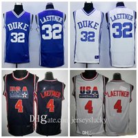 رجل 1992 USA Team One 4 Christian Laettner Jersey 32Duke الأزرق الشياطين الفانيلة أزرق أبيض بعيدا فريق اللون 2021 كلية كرة السلة الفانيلة