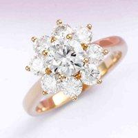 Anéis de Marca Veryins Sólido 10k Amarelo Gold Center 1ct Moissanite Halo Anel de noivado