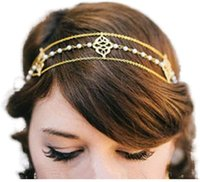 Hair Clips & Barrettes Pearl Head Chain Gold Headpieces Wedding Acessories For Women And Girls Beaded Auspicious Fringed Headband