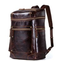 Men's Backpack Genuine Leather Backpacks Large Capacity Travelling Bags Casual Fashion Retro European and American Style Travel Bag