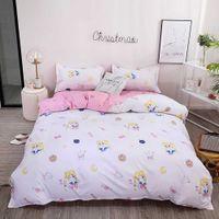 Sailor Moon Comforter Bedding Set For Girls Simple Duvet Cover With Sheet Rabbit Cute Soft Cartoon Bed Set Drop Ship H0913
