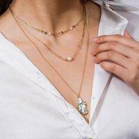 Подвесные ожерелья мода натуральное жемчужное ожерелье женское простая дикая амбальская оболочка многослойные цепные аксессуары