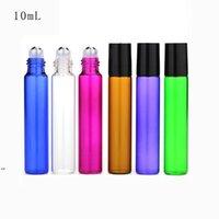 10 ml leere Glasrolle auf der Flasche blau rot grün Bernstein Klarer Rollenbehälter 1 / 3Oz für ätherische Öl Aromatherapie Parfums Lippenbalgs DWF8588