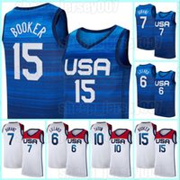 Devin 15 Booker Kevin 7 Durant Basketball Jersey 6 Damian Lillard Jersey 10 Jayson Tatum 2020 Herren Nationalmannschaft USA Sommer Olympische Spiele Dekre 22 Ayton Devin 1 Booker