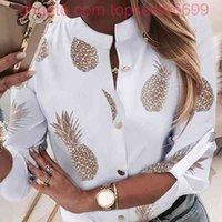 Ananas bluz kadın gömlek ananas beyaz uzun kollu kadın bayan üstleri ve zarif üst kadın sonbahar