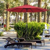 US-Lager-Schatten-zentraler Regenschirm wasserdichter, faltender Sonnenschirm Wein-roter Polyester-Gewebe-Eisenständer ultra-massiv unruhig zu brechen