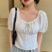 Женские блузки рубашки женские блузка стильный кружевной слоеный рукав сплошной цвет полиэстер квадратный воротник шикарный сладкий VROUWELIJKE BLADERDEEG MOUW KL