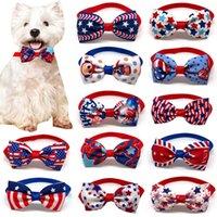 15 가지 색상 조정 가능한 애완 동물 개 보우 넥타이 개 타이 칼라 꽃 액세서리 장식 용품 미국 독립 기념일 Bowknot 넥타이 그루밍 용품