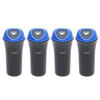 4 adet Taşınabilir Mini Otomobil Dustbin Araba Çöp Can Organizatör Kanca (Mavi) Ile Sızdırmaz Araç Bin Çöpü