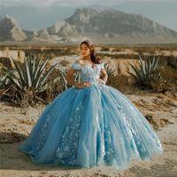 Light Sky Blue Ball Gown 2021 Quinceanera Abiti fuori spalla 3D Fiori Sweet 16 Dress Party Wear Princess Gowns XV Años Vestidos de 15