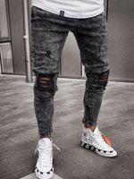 Erkekler kot yırtık elastikiyet sıska motobiker denim pantolon erkek hip-hop rahat koşu yüksek sokak kalem pantolon erkek erkek