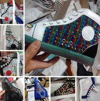 2021 Chaussures de design de luxe Soupes de haut-têtes Sneakers Sneakers en cuir véritable Baskets de fond rouge Men entraîneurs Fashion Casual Chaussures avec boîte SZ US 13