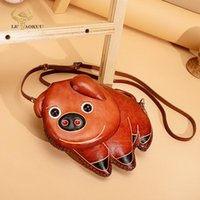 """Evening Bags 2021 Real Thick Leather Luxury Designer Women Mini Purse Handbag Ladies Over The Shoulder Satchel Bag Cute Pig 6"""" Phone Pouch"""