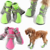 Dog Apparel 4 Pcs Lot Spring Autumn Breathable Shoes Soft Casual Air Mesh Walking Boots Puppy Chihuahua Socks Pet Footwear