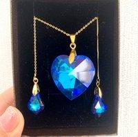Moda Nupcial Dress Jóias Colar Brincos Definir Designer Heart Forma Requintado Azul Festa De Cristal Banquete Acessórios Valentine's Aniversário presente com caixa