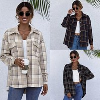 Vintage Stylish Chic Plaid Women Jacket Coat Pocket Top Casual Long Sleeve Streetwear Lapel Loose Outerwear Women's Jackets