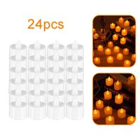 24pcs Home Decoration Lamp Night Light Led Candle White Round Shell Yellow Flashing H0909