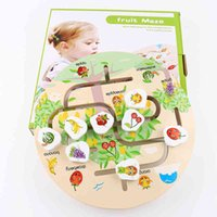 Children's Baby Early Education Puzzle Wooden Toys Cartoon Animal Maze Sports Find a Home Toy Round Maze Indoor Games Q0313