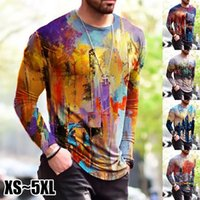 Men's T-Shirts Patchwork Men T-shirt Long Sleeve Fashion Print Tops 2021 Summer Autumn Casual Pullovers Sexy Mens Clothing Plus Size S-5XL