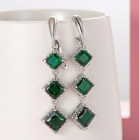 Bohemian earrings fashion emerald earrings zircon exaggerated long earrings 032110