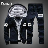 Casual Men Tracksuit Winter Two Pieces Sets Fleece Thick Hooded Zipper Jacket + Pants Warm 2 PCS Sporting Suit Sportswears M-4XL X0610