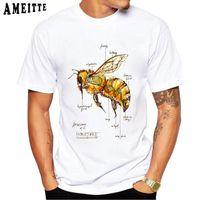 Men's T-Shirts Harajuku Anatomy Bee Funny Print T-Shirt Summer Vintage Men Short Sleeve Love Honey Design Man Tops White Casual Tees
