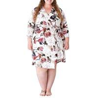 Pregnant Woman Bathrobe Sleeping Pajamas Wear Flower Printed Long Sleeve Lace-up Waist Nightclothes Casual Loose Dress Dresses