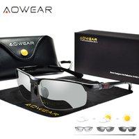 نظارات شمسية Aowear Pochromatic عيون من أشعة الشمس مستقطبة رجل الساعات في الحرباء الألومنيوم عالية الجودة دون تصاعد gafas