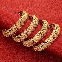 Bangle 4Pcs lot 24K Dubai Flower Bangles African Gold For Women Girls Bracelets Jewelry Ethiopian Bride Wedding Jewerly Gift