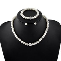 Högkvalitativ Cream Glass Pearl och Disco Rhinestone Ball Kvinnor Bröllop Halsband Armband och Örhängen Bröllop Smycken Sets 502 Q2