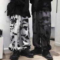 Pantaloni Cargo Tinti em Cravatta Larghi da Uomo con Tasche Casual Abbigliamento Hip-Hop Men's Calças