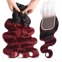 Бразильские омбулы волос с закрытием 1b 99J два тона омбре человеческие волосы плетение бразильской массы волна 3 пакета пакета с кружевным закрытием