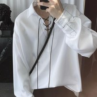 Men's Casual Shirts Chic Blouses Design Blouse Women Clothes Korean Style Ascetic Ssystem Tops Drawstring Top Stitching V-neck Male Pullover