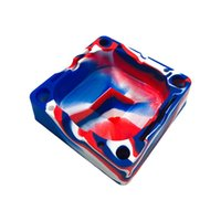 Colorfull Square Silicone Ashtray Soft Resistant Safe Unbreakable Flammable Cigarette Cigar Smoke Accessory Organizing Slot Holders CCF6904